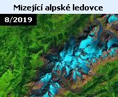 V důsledku zvyšujích se teplot na Zemi ustupují mj. také horské ledovce v Alpách. Na tomto snímku družice Landsat 8 v nepravých barvách z 25. srpna 2019 je zachycen současný stav ledovců v Montblanském masivu. Na další fotografii se nabízí pohled na stejné místo, jak jej pořídila družice Landsat 5 o 34 let dříve - 18. srpna 1985. Všechny ledovce mezitím výrazně ustoupily. V poslední době se hovoří například o ledovci Planpincieux na italské straně Alp. V letošním horkém létě ledovec ustupoval rychlostí až 50 centimetrů za den. Experti se obávají, že by mohlo dojít k odlomení kusu ledu o rozloze až 250 tisíc metrů krychlových.  Úřady proto koncem září nařídily uzavřít silnici v údolí Val Ferret a evakuovat horské chaty v okolí. Podle glaciologů by alpské ledovce mohly kompletně roztát do konce tohoto století.