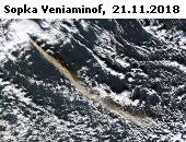 Sopka Veniaminof na fotografii družice Aqua z 23. listopadu 2018 (NASA).