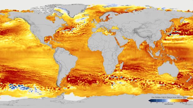 Průměrná výška mořské hladiny, rozdíly podle regionů, srovnání s průměrem 1993 až 2002