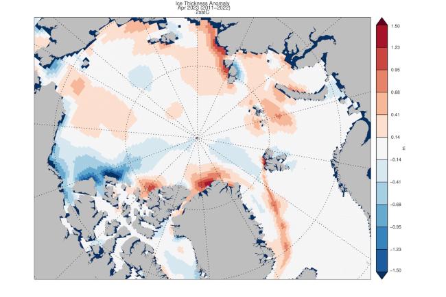 Tloušťka ledu v Arktidě - anomálie v minulém nebo předminulém měsíci ve srovnání s průměrem let 2011 až 2018 (University of Washington).
