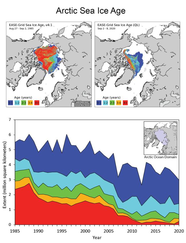 Stáří ledu v Arktidě - srovnání stavu na konci sezónní doby tání v roce 1985 (vlevo nahoře) a v roce 2020 (vpravo nahoře). Dolní graf ukazuje rozlohu mořského ledu v letech 1985 až 2020. Barevně jsou odlišeny kategorie ledu podle jeho stáří.