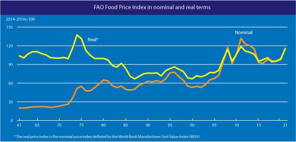Index cen potravin v letech 1961 až 2021. Nominální a reálné ceny.