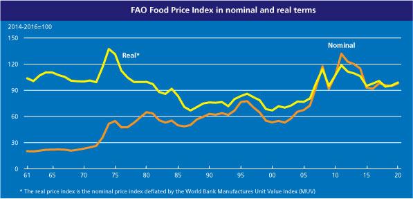 Index cen potravin v letech 1961 až 2018. Nominální a reálné ceny.