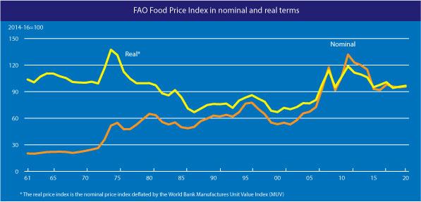 Index cen potravin v letech 1961 až 2020. Nominální a reálné ceny.