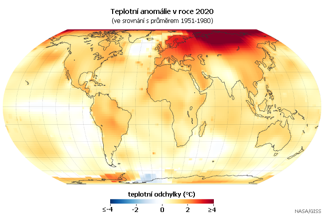 Teplotní anomálie v roce 2020 (oproti průměru 1981-2010). Data: NASA/GISS (GISTEMP)