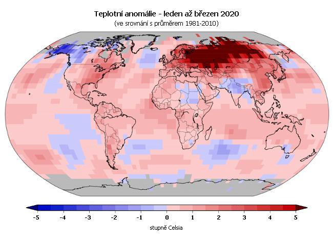 Teplotní anomálie v roce 2020 - leden až březen (oproti průměru 1981-2010)