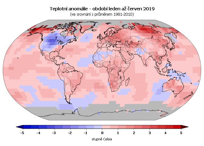 Teplotní anomálie - leden až červen 2019 (oproti průměru 1981-2010)