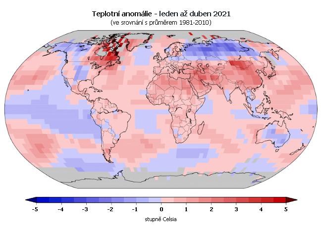 Teplotní anomálie za období leden až duben 2021 (oproti průměru 1981-2010)
