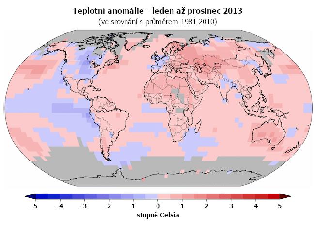 Teplotní anomálie - leden až prosinec 2013 (oproti průměru 1981-2010)