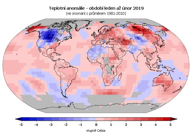 Teplotní anomálie - leden až únor 2019 (oproti průměru 1981-2010)