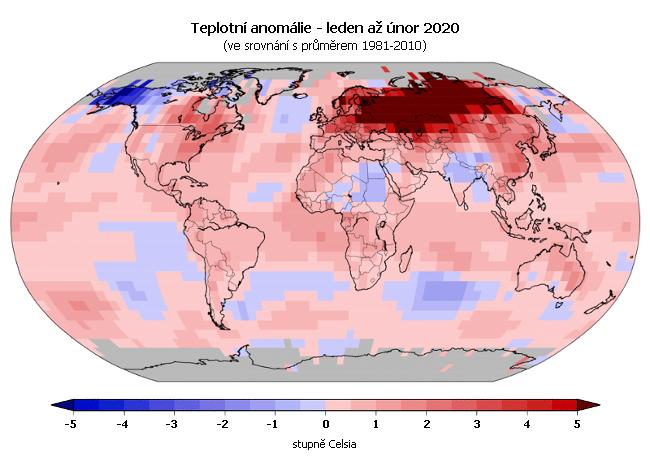 Teplotní anomálie v roce 2020 - leden až únor (oproti průměru 1981-2010)