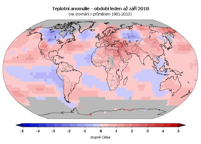 Teplotní anomálie - leden až září 2017 (oproti průměru 1981-2010)