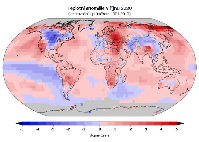 Teplotní anomálie v říjnu 2020 (oproti průměru 1981-2010)