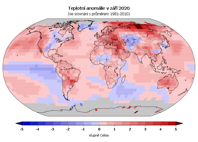 Teplotní anomálie v září 2020 (oproti průměru 1981-2010)