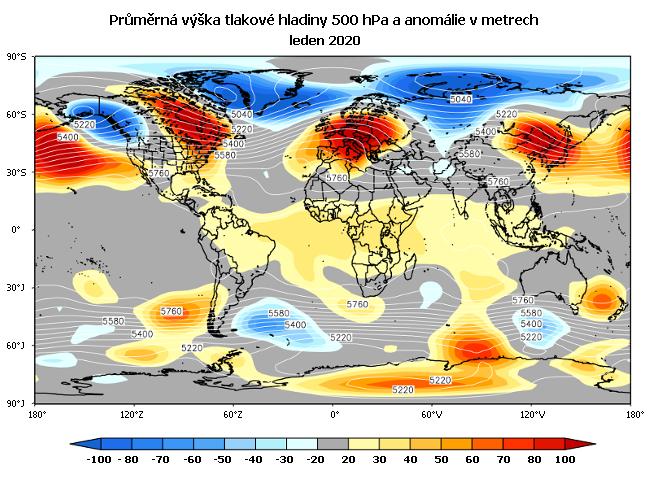 Anomálie tlakových polí v atmosféře v lednu 2020 (hladina 500 hektopascalů).