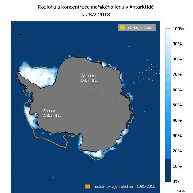 Rozloha a koncentrace mořského ledu v Antarktidě k 28. únoru 2018.