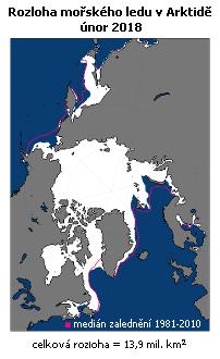 Rozloha mořského ledu v Arktidě v únoru 2018 (NSIDC)