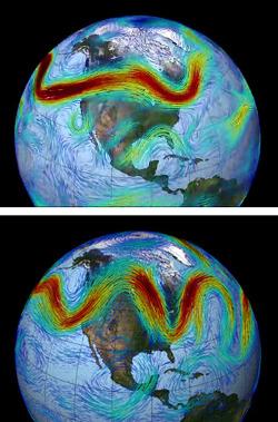 Jet stream (ilustrace NASA/GSFC)