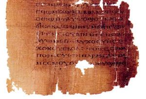 Koptský rukopis Jidášova evangelia (kodex Tchacos, strana 54)