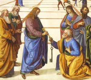 Pietro Perugino (1446-1524) - Kristus předává Petrovi klíče od nebeského království (detail z fresky)
