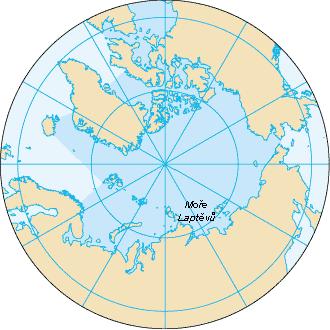Mapa: Severní ledový oceán a moře Laptěvů