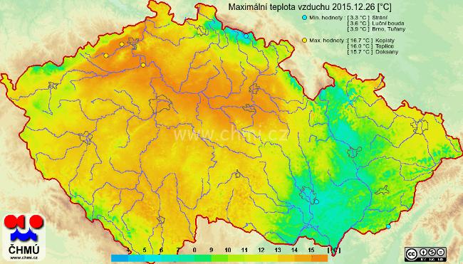 Maximální teploty vzduchu v ČR, 26.12.2015 (ČHMÚ)