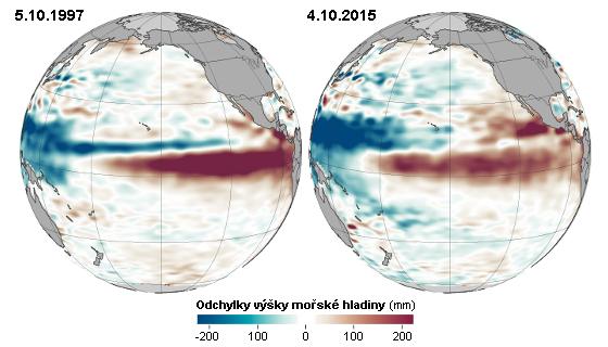 Srovnání výšky mořské hladiny v Tichém oceánu začátkem října v letech 1997 a 2015